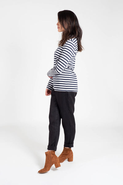 Navy and White Cotton Crew Neck Long Sleeve T-Shirt Shirts + tops The Fashion Advocate ethical Australian fashion designer boutique Melbourne sustainable clothes