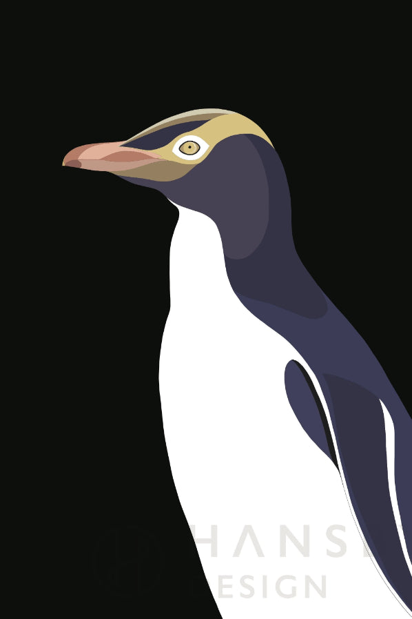 Yellow Eyed Penguin Print Art + prints Ethical Sustainable Vegan Organic Australian fashion womens clothes
