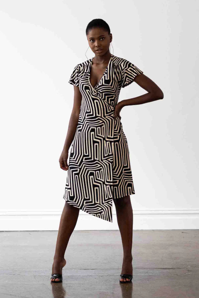 Hollywood Wrap Dress Maze Print Dresses The Fashion Advocate ethical Australian fashion designer boutique Melbourne sustainable clothes