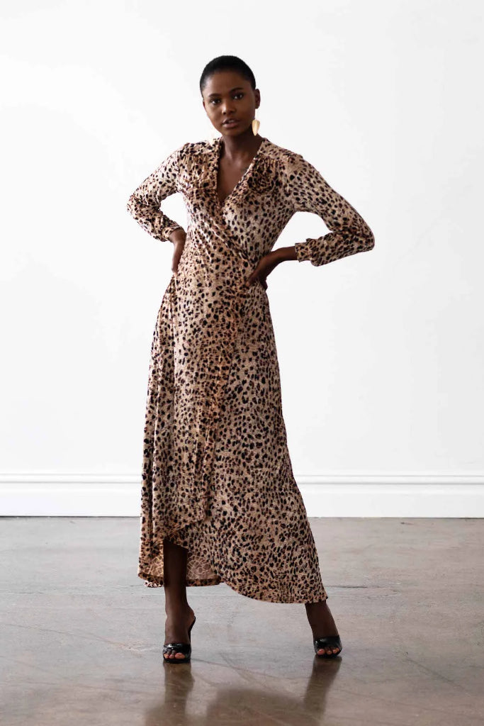 Vancouver Wrap Dress Velvet Cheetah Print Dresses The Fashion Advocate ethical Australian fashion designer boutique Melbourne sustainable clothes