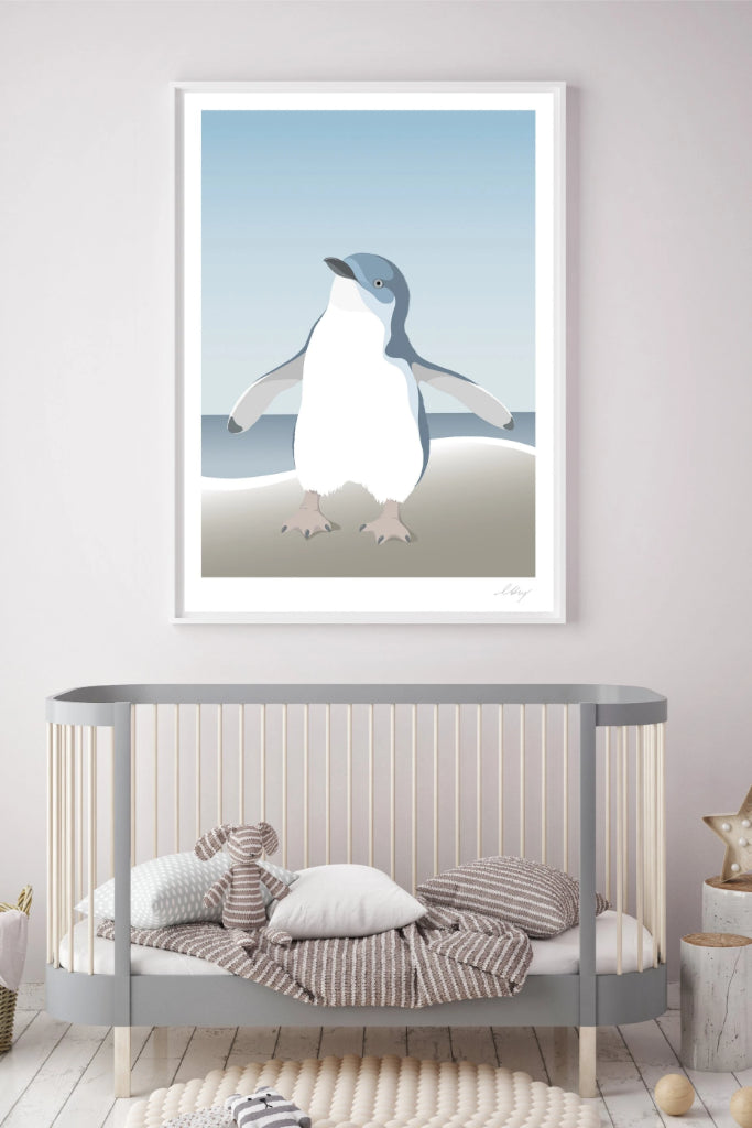 Blue Penguin Print Art + prints Ethical Sustainable Vegan Organic Australian fashion womens clothes