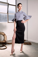 Navy Striped Subic Shirt - Shirts - The Fashion Advocate - Ethical Australian fashion online like - Melbourne fashion blogger