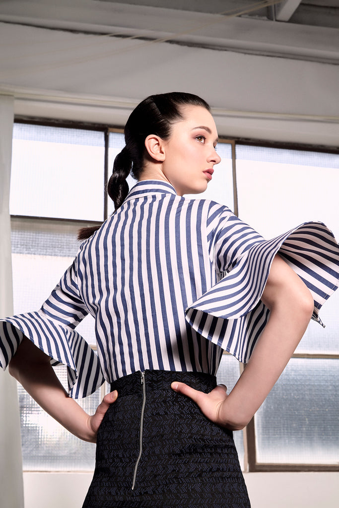 Navy Striped Subic Shirt Shirts + tops The Fashion Advocate ethical Australian fashion designer boutique Melbourne sustainable clothes