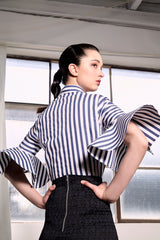Navy Striped Subic Shirt Shirts The Fashion Advocate ethical Australian fashion designer boutique Melbourne sustainable clothes