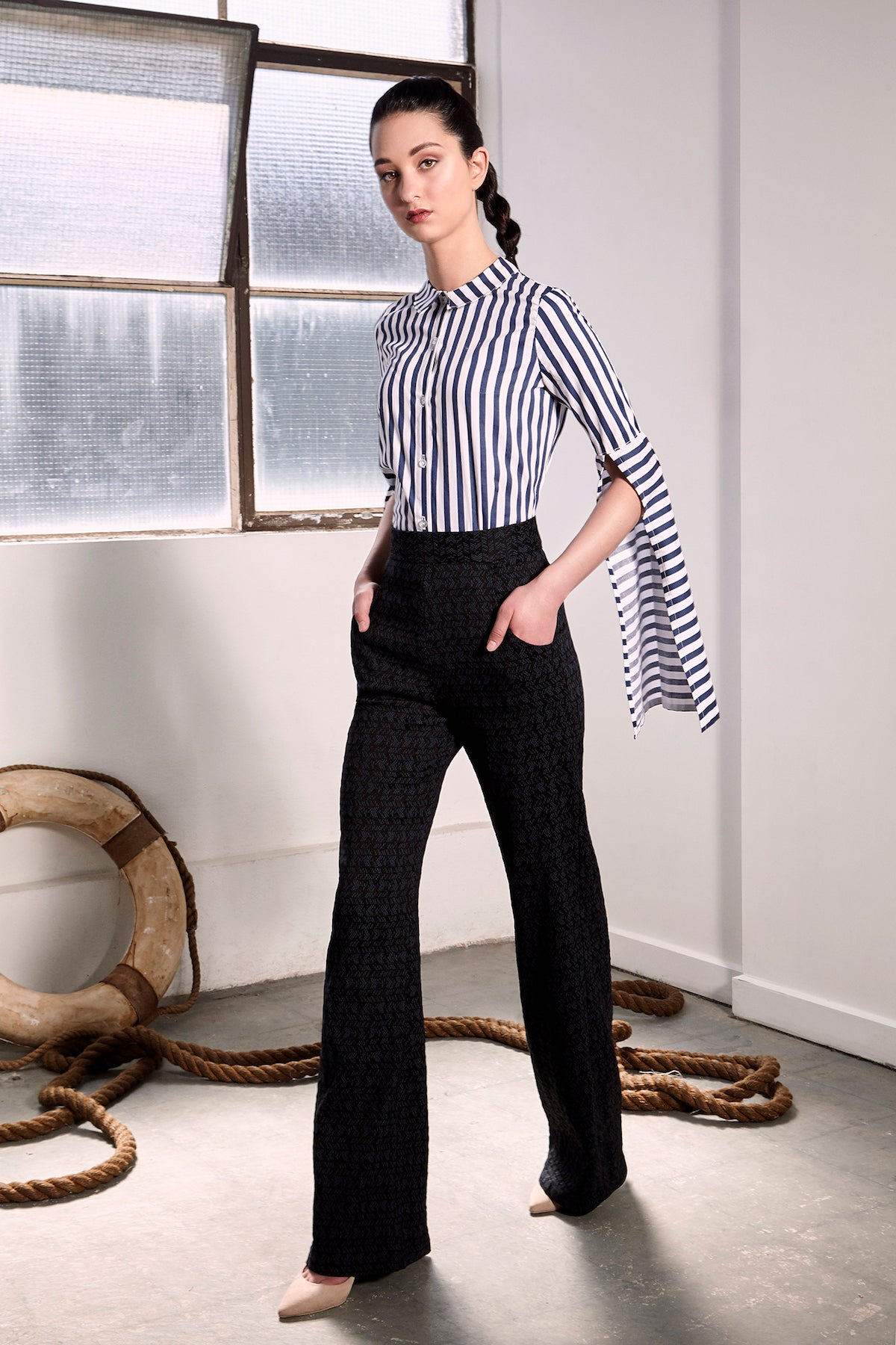 Striped Bergen Shirt Shirts + tops The Fashion Advocate ethical Australian fashion designer boutique Melbourne sustainable clothes