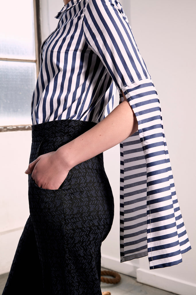Striped Bergen Shirt Shirts The Fashion Advocate ethical Australian fashion designer boutique Melbourne sustainable clothes