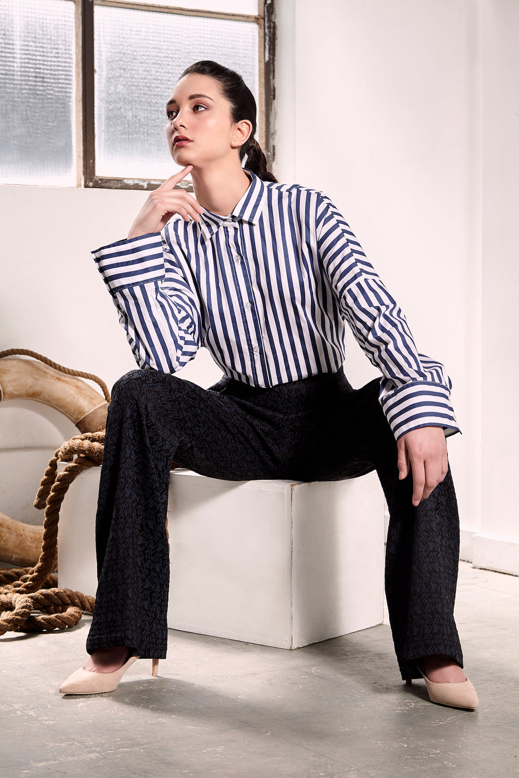 Striped Kyoto Shirt Shirts The Fashion Advocate Ethical Australian fashion designer boutique Melbourne sustainable blogger