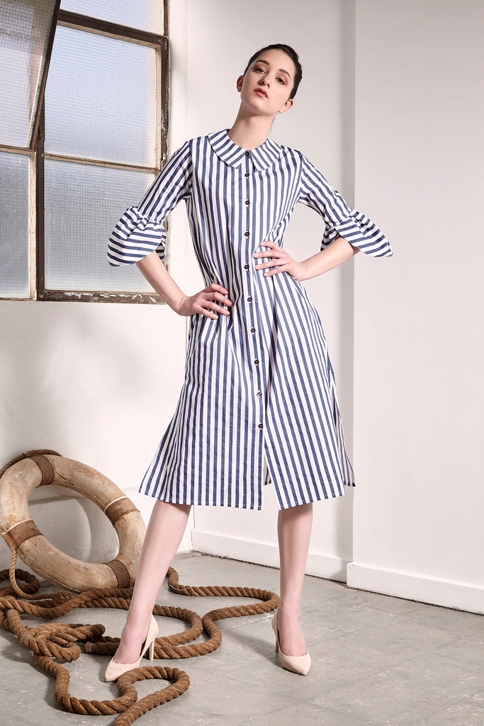 Striped Ashbury Dress Dresses The Fashion Advocate ethical Australian fashion designer boutique Melbourne sustainable clothes