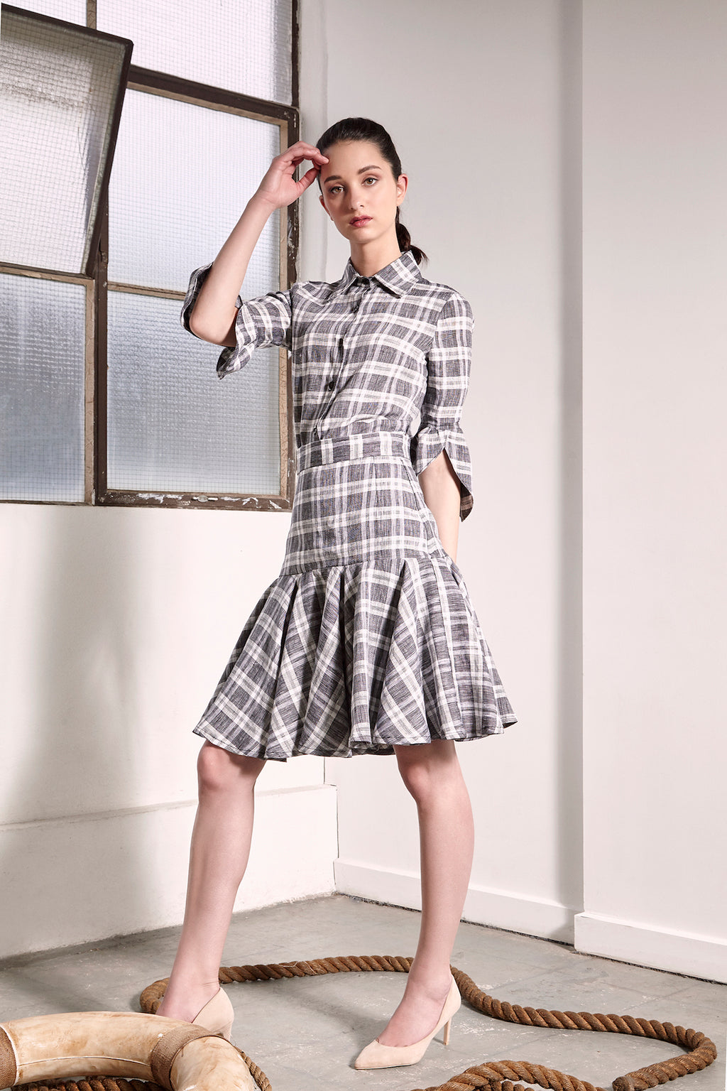Checkered Linen Munich Shirt Shirts The Fashion Advocate Ethical Australian fashion designer boutique Melbourne sustainable blogger