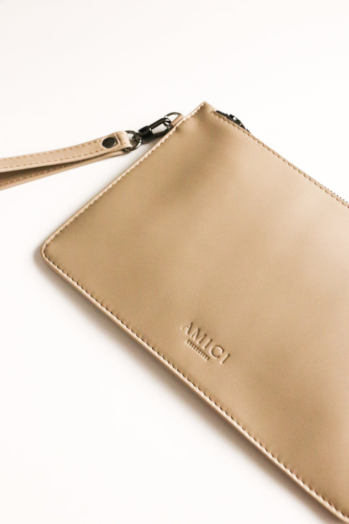 Taupe Jetsetter Clutch Bags + wallets Ethical Sustainable Vegan Organic Australian fashion womens clothes