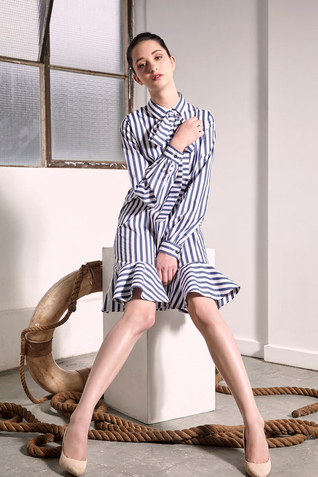 Striped Uji Dress Dresses The Fashion Advocate ethical Australian fashion designer boutique Melbourne sustainable clothes