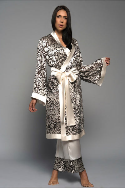 Ivory Burst Satin Devorè Kimono Robe Sleepwear The Fashion Advocate ethical Australian fashion designer boutique Melbourne sustainable clothes