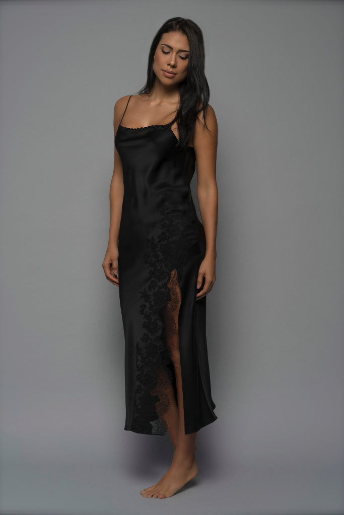 Jet Black Allurè Silk Nightgown Sleepwear The Fashion Advocate ethical Australian fashion designer boutique Melbourne sustainable clothes