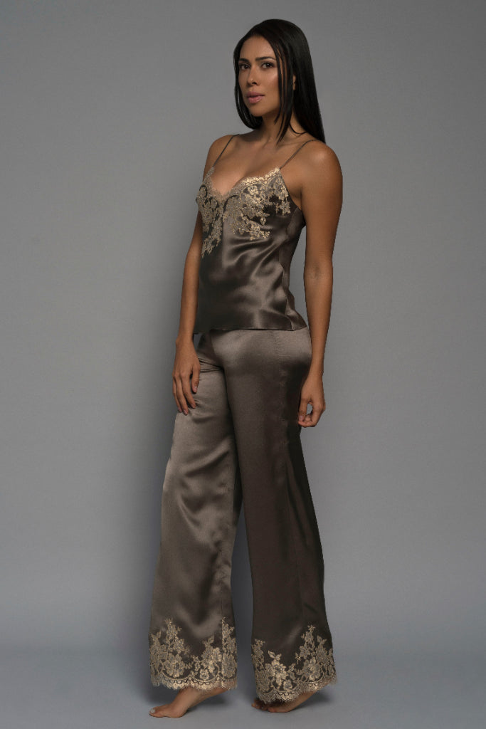 Mocha Gilded Rose Silk Camisole=-Julia Logvin Couture-THE FASHION ADVOCATE-ethical sustainable Australian womens fashion online