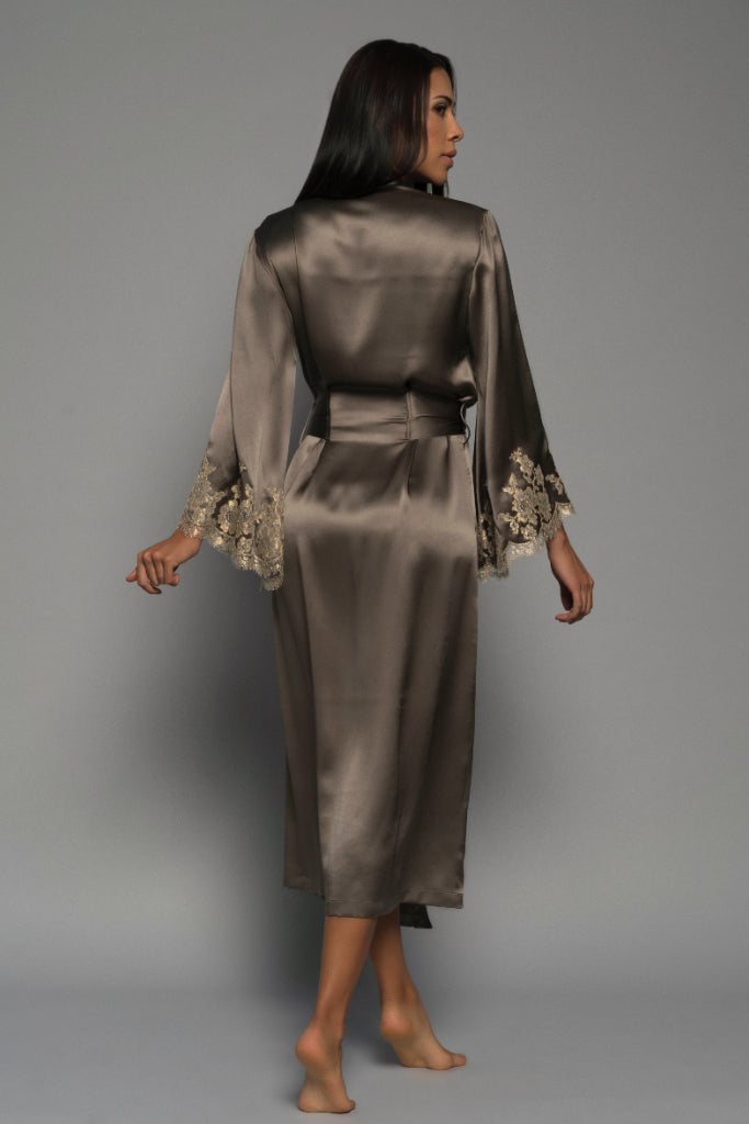 Mocha Gilded Rose Long Silk Robe-Julia Logvin Couture-THE FASHION ADVOCATE-ethical sustainable Australian womens fashion online