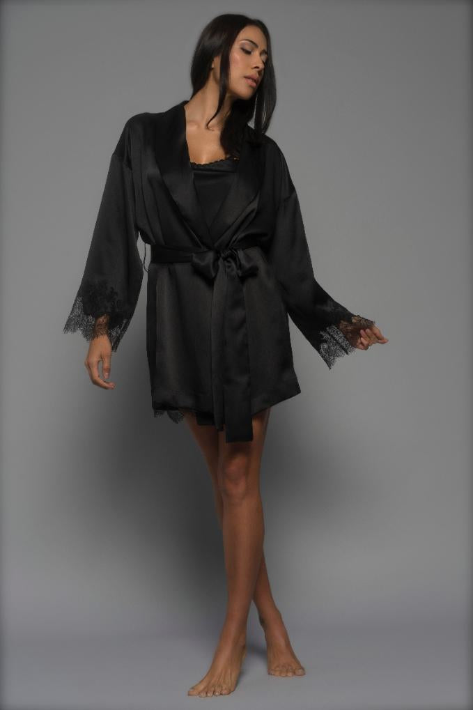 Jet Black Allurè Silk Robe Sleepwear The Fashion Advocate ethical Australian fashion designer boutique Melbourne sustainable clothes
