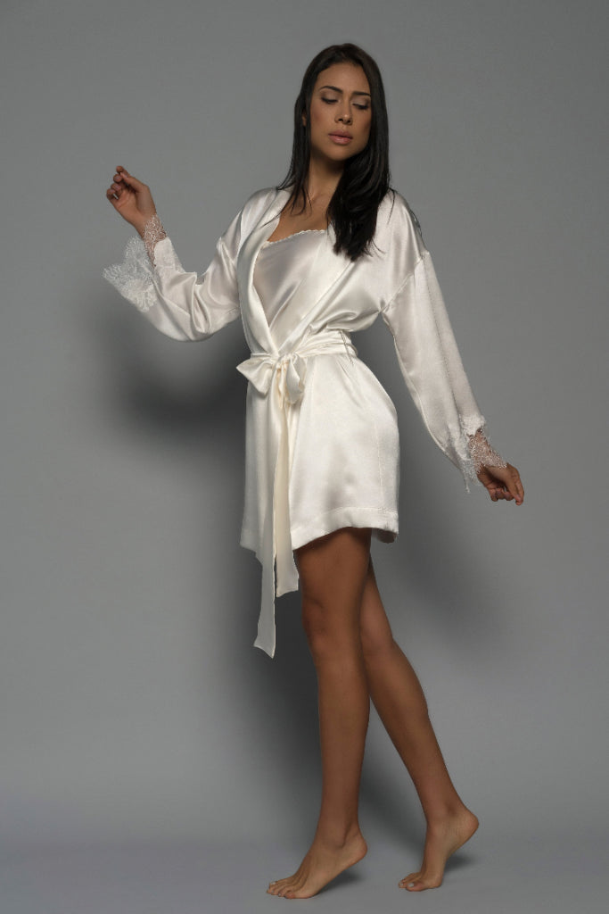 Light Ivory Allurè Silk Robe Sleepwear Ethical Sustainable Vegan Organic Australian fashion womens clothes
