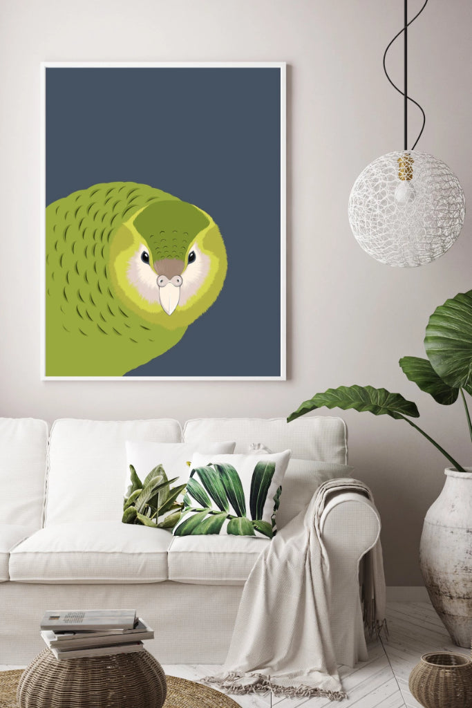Kakapo Print Art + prints Ethical Sustainable Vegan Organic Australian fashion womens clothes