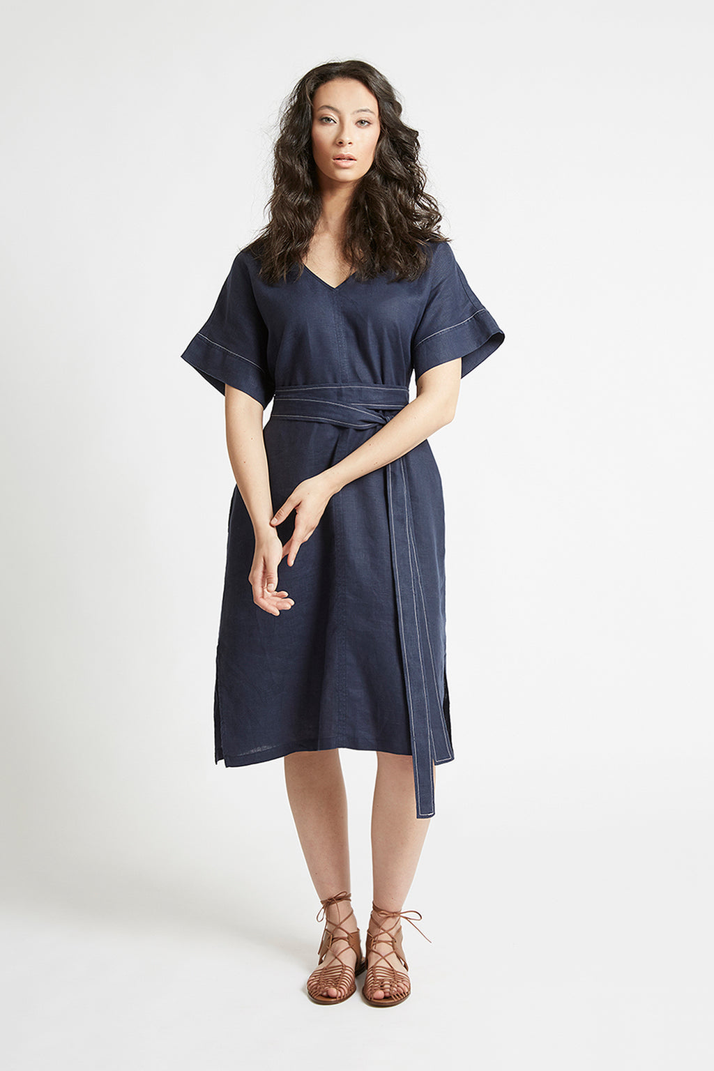 Navy Linen Kimono Sleeve Dress Dresses Ethical Sustainable Vegan Organic Australian fashion womens clothes