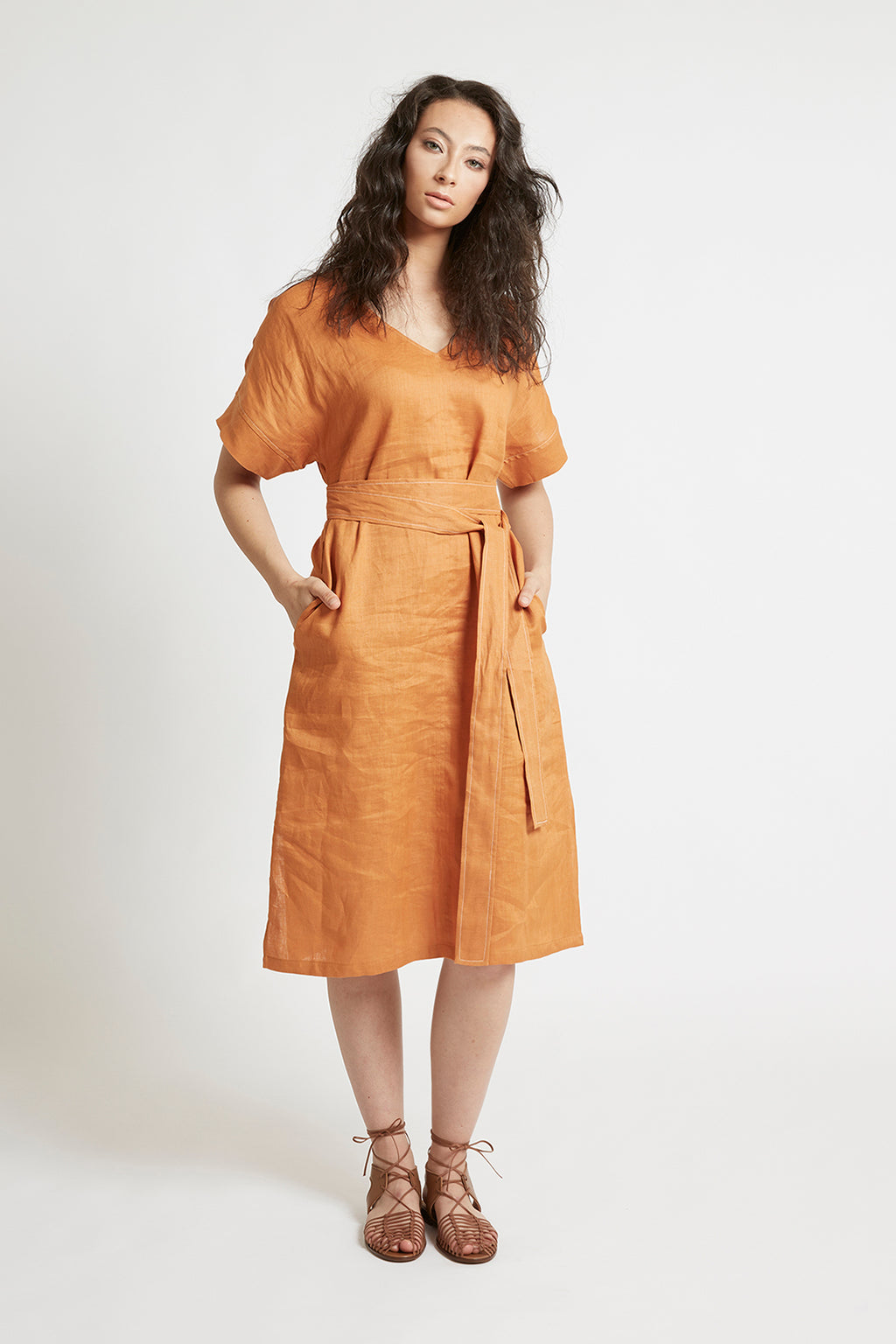 Orange Linen Kimono Sleeve Dress Dresses Ethical Sustainable Vegan Organic Australian fashion womens clothes