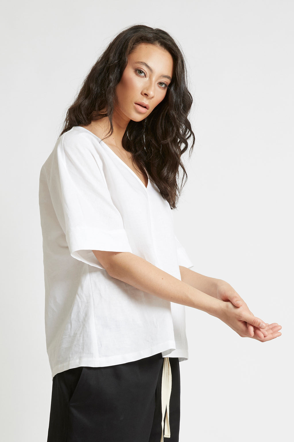 White Kimono Sleeve Top Shirts + tops The Fashion Advocate ethical Australian fashion designer boutique Melbourne sustainable clothes