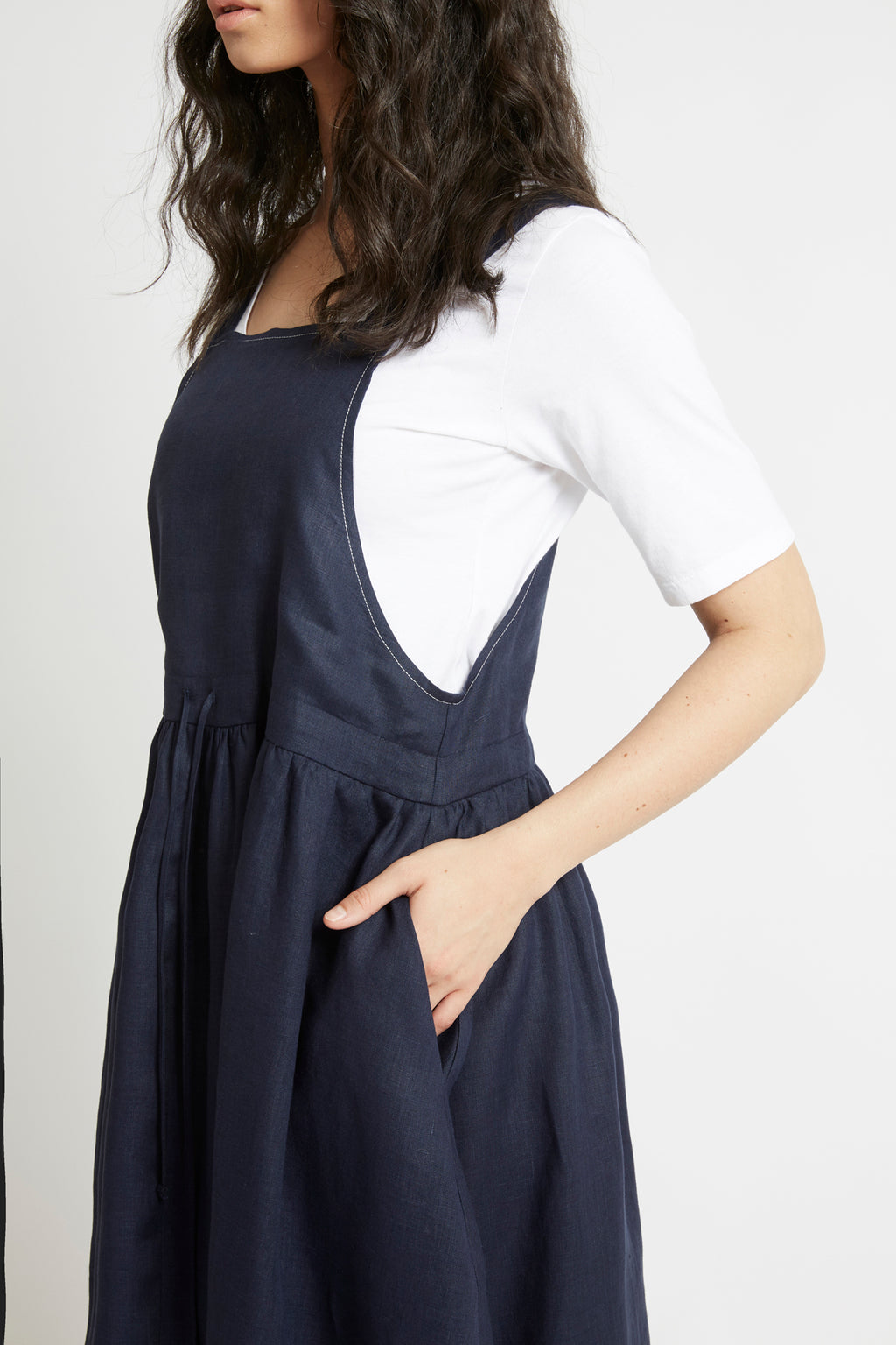 Navy Linen Drawstring Pinafore Dresses The Fashion Advocate ethical Australian fashion designer boutique Melbourne sustainable clothes