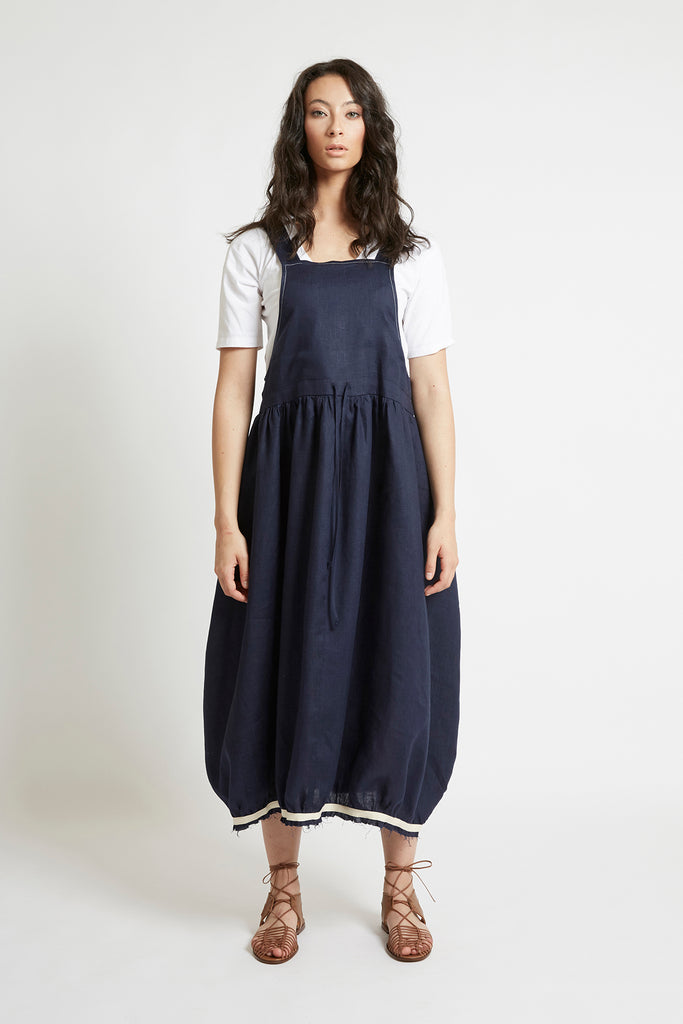 Navy Linen Drawstring Pinafore Dresses Ethical Sustainable Vegan Organic Australian fashion womens clothes