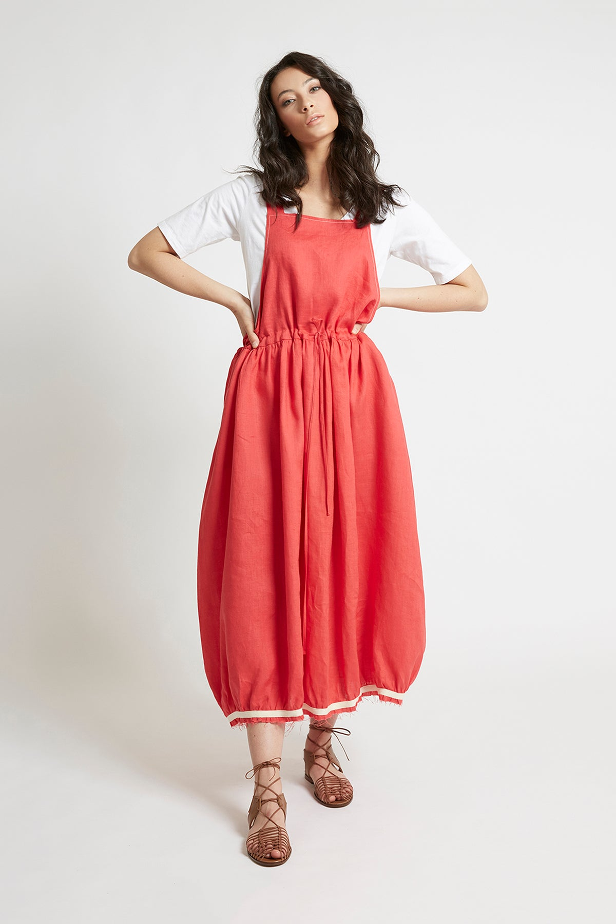 Red Linen Drawstring Pinafore Dresses Ethical Sustainable Vegan Organic Australian fashion womens clothes