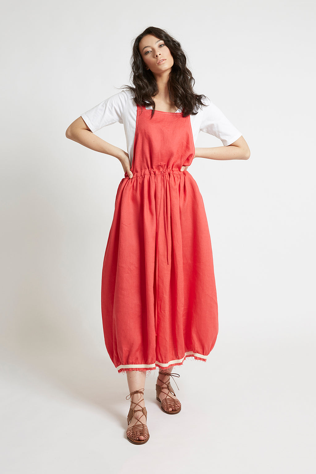 Red Linen Drawstring Pinafore Dresses The Fashion Advocate ethical Australian fashion designer boutique Melbourne sustainable clothes