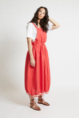 Red Linen Drawstring Pinafore