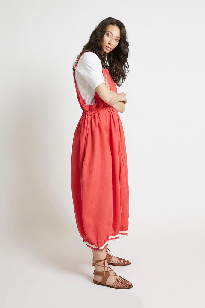 Red Linen Drawstring Pinafore-FRSKE-THE FASHION ADVOCATE-ethical sustainable Australian womens fashion online