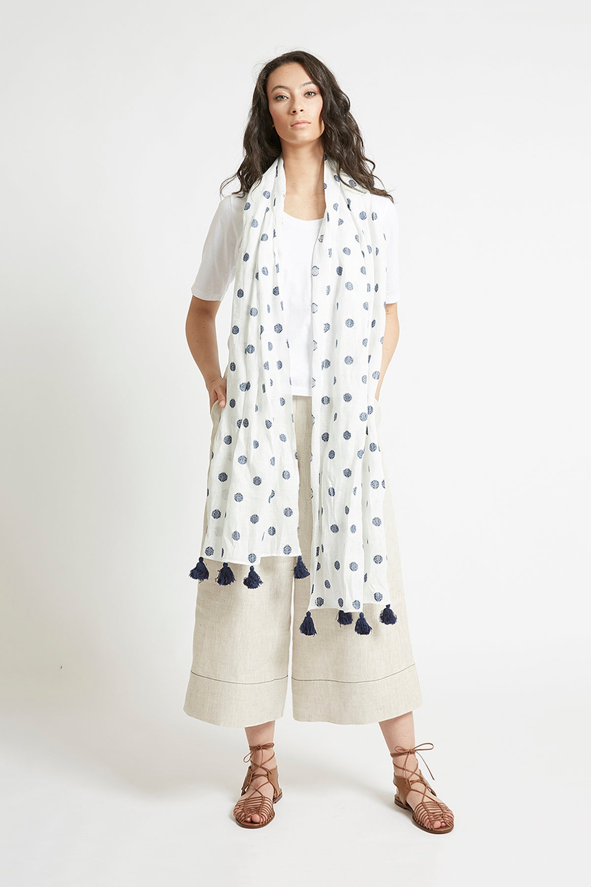 Navy and White Linen Scarf Accessories The Fashion Advocate ethical Australian fashion designer boutique Melbourne sustainable clothes