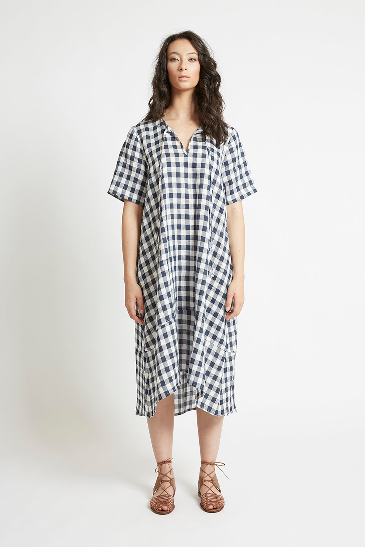 Navy Gingham Linen V-Neck Shift Dress Dresses Ethical Sustainable Vegan Organic Australian fashion womens clothes