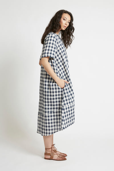Navy Gingham Linen V-Neck Shift Dress Dresses The Fashion Advocate ethical Australian fashion designer boutique Melbourne sustainable clothes