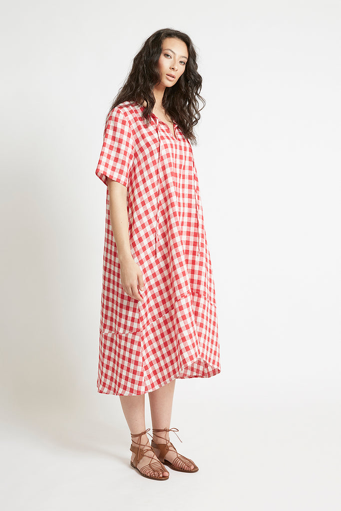 Red Gingham Linen V-Neck Shift Dress-FRSKE-THE FASHION ADVOCATE-ethical sustainable Australian womens fashion online