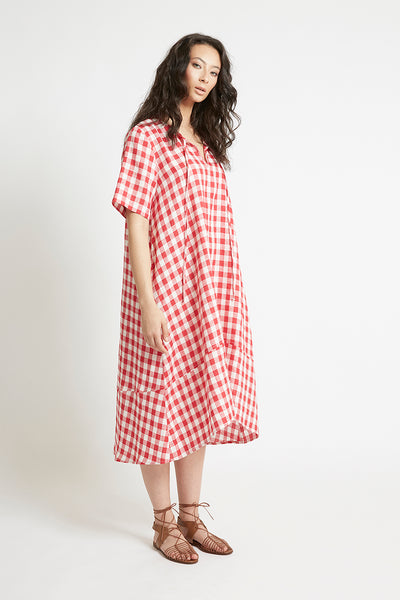 Red Gingham Linen V-Neck Shift Dress Dresses Ethical Sustainable Vegan Organic Australian fashion womens clothes