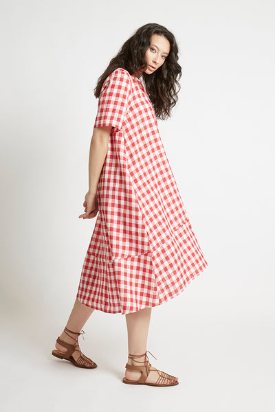 Red Gingham Linen V-Neck Shift Dress Dresses The Fashion Advocate ethical Australian fashion designer boutique Melbourne sustainable clothes