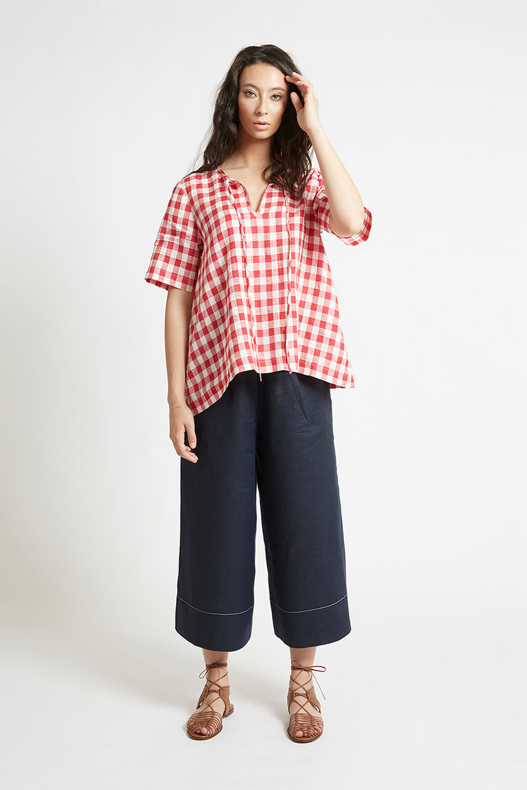 Red Gingham Linen V-Neck Top Shirts + tops The Fashion Advocate ethical Australian fashion designer boutique Melbourne sustainable clothes
