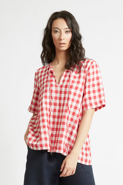 Red Gingham Linen V-Neck Top