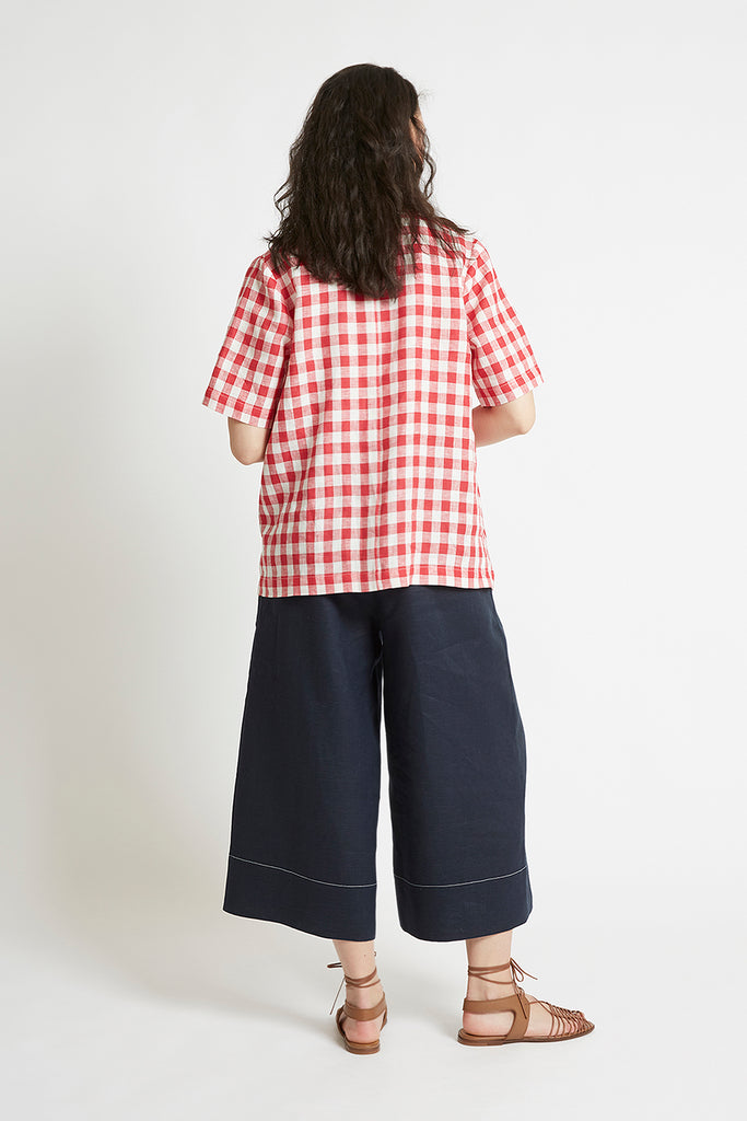 Red Gingham Linen V-Neck Top-FRSKE-THE FASHION ADVOCATE-ethical sustainable Australian womens fashion online