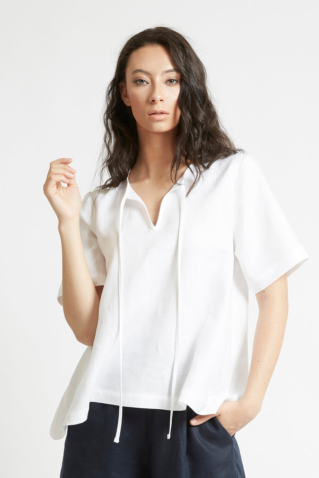 White Linen V-Neck Top Shirts + tops Ethical Sustainable Vegan Organic Australian fashion womens clothes