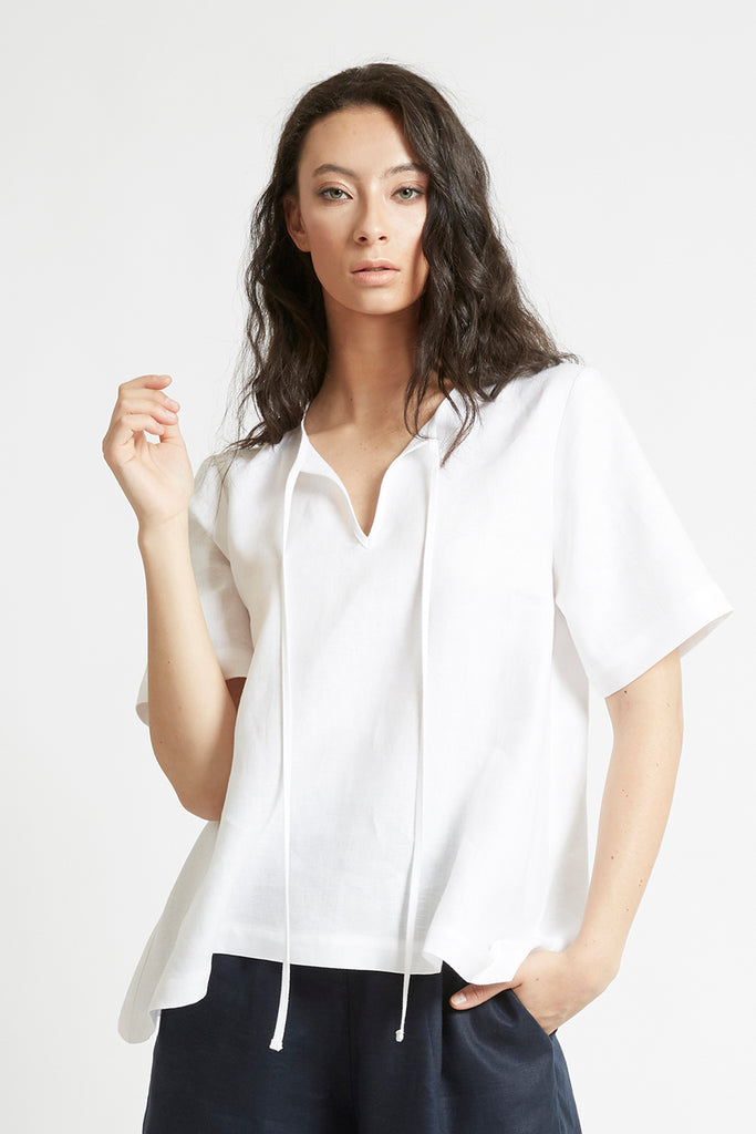 White Linen V-Neck Top-FRSKE-THE FASHION ADVOCATE-ethical sustainable Australian womens fashion online