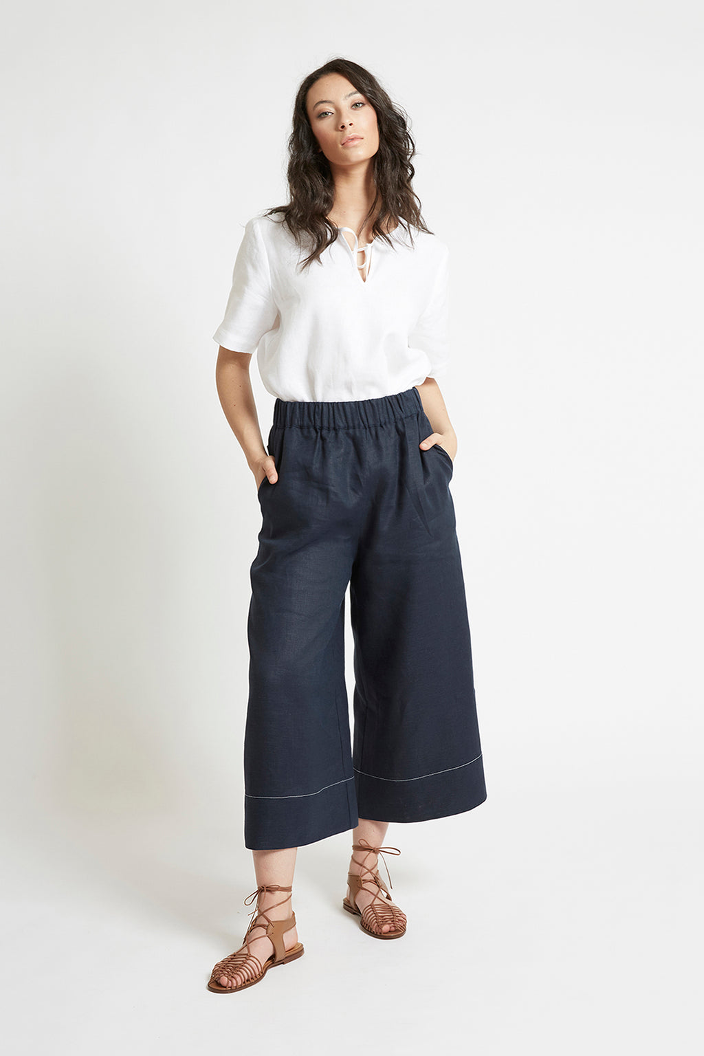 Navy Linen Wide Leg Pant Pants Ethical Sustainable Vegan Organic Australian fashion womens clothes