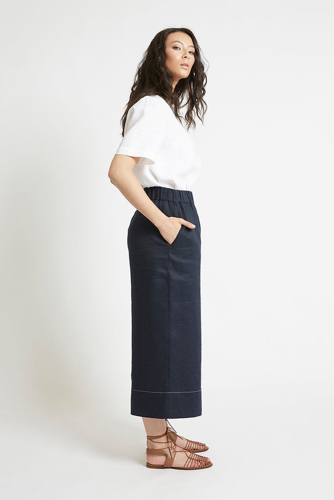 Navy Linen Wide Leg Pant Pants The Fashion Advocate ethical Australian fashion designer boutique Melbourne sustainable clothes