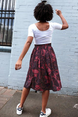 Midi Skirt Germs in Space Maroon Skirts Ethical Sustainable Vegan Organic Australian fashion womens clothes