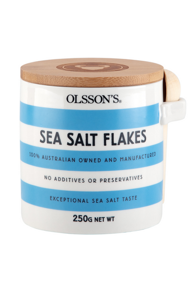 Olsson's Sea Salt Flakes Stoneware Jar 250g Health foods Ethical Sustainable Vegan Organic Australian fashion womens clothes