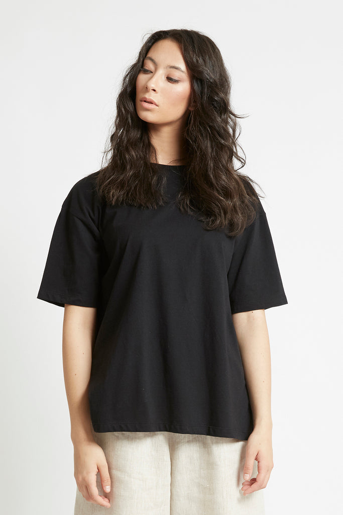 Black Organic Cotton Boyfriend T-Shirt Shirts + tops Ethical Sustainable Vegan Organic Australian fashion womens clothes