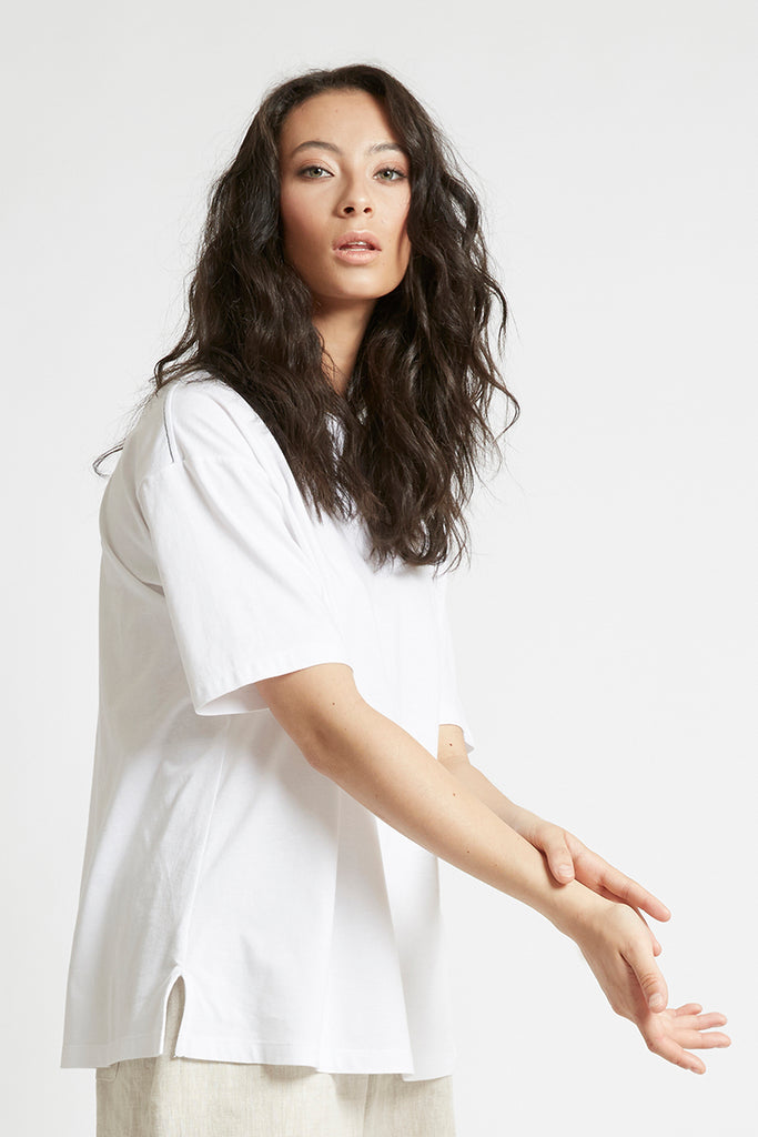 White Organic Cotton Boyfriend T-Shirt-FRSKE-THE FASHION ADVOCATE-ethical sustainable Australian womens fashion online