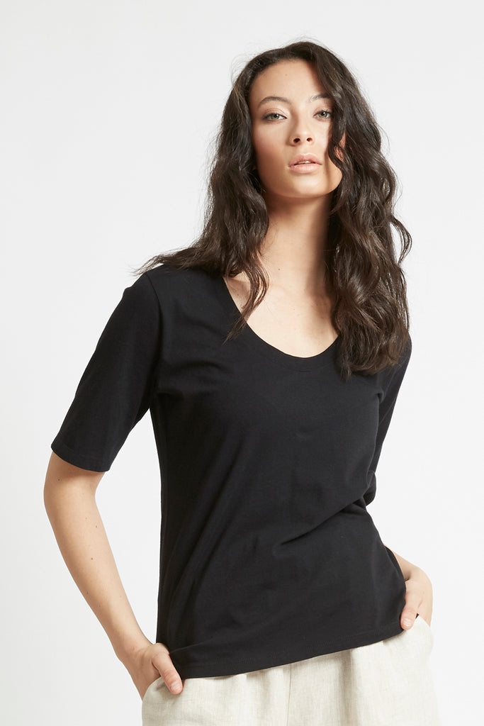 Black Organic Cotton Scoop Neck T-Shirt Shirts + tops Ethical Sustainable Vegan Organic Australian fashion womens clothes