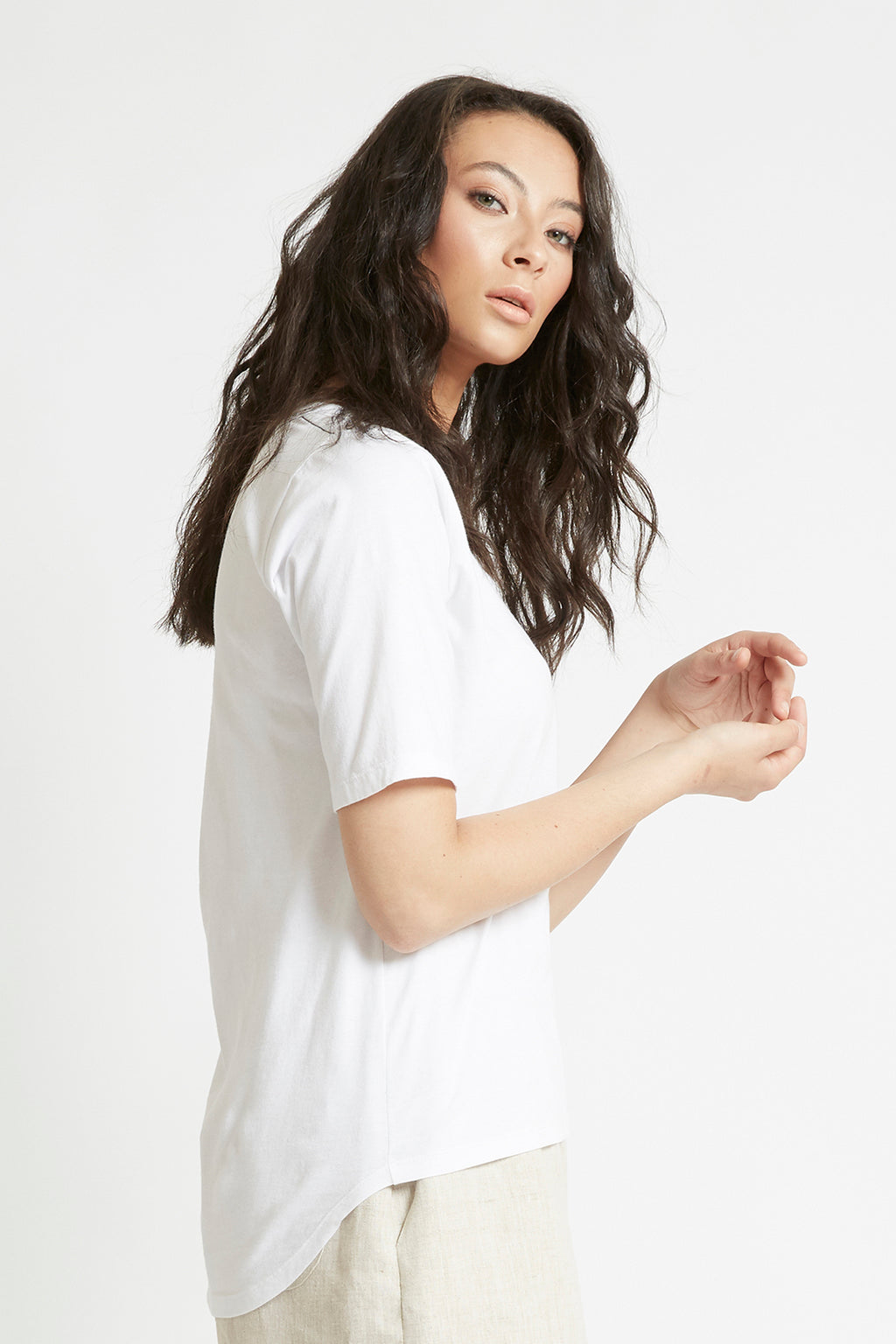 White Organic Cotton Scoop Neck T-Shirt Shirts + tops The Fashion Advocate ethical Australian fashion designer boutique Melbourne sustainable clothes
